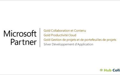 Hub Collab obtient la compétence «Gold Productivité Cloud» de Microsoft !