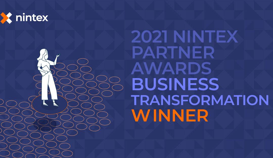 Hub Collab, élu par Nintex partenaire de l'année 2021 en zone EMEA pour la «Business transformation».